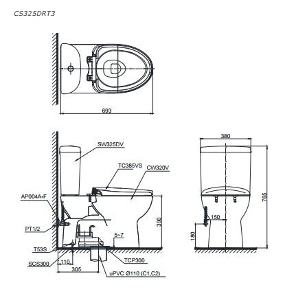 bản vẽ bồn cầu TOTO CS325DRT3 thùng nước S3250