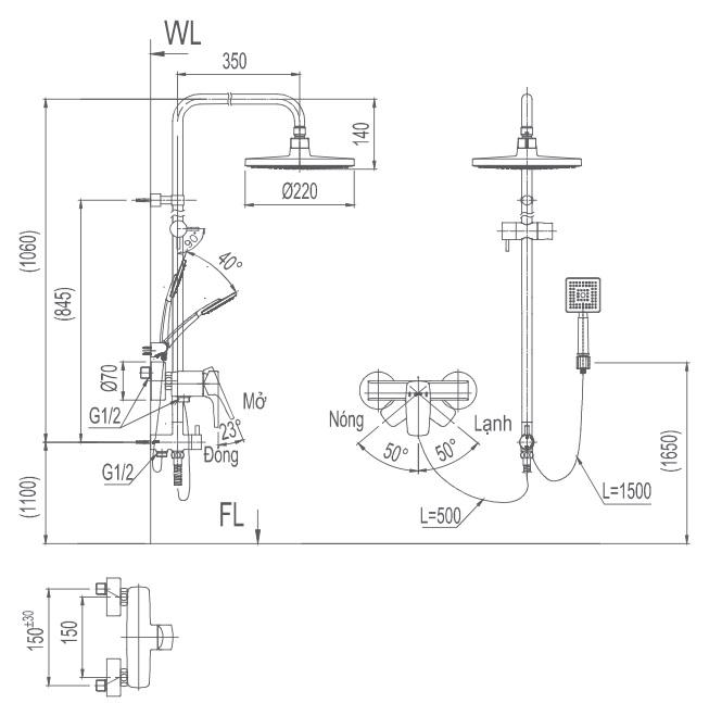 Bản vẽ kỹ thuật Vòi sen tắm nóng lạnh INAX BFV-50S