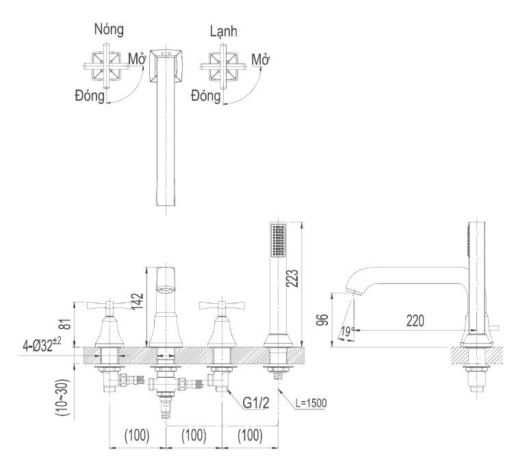 Bản vẽ kích thước sen bồn tắm Inax BFV8100B BFV-8100B
