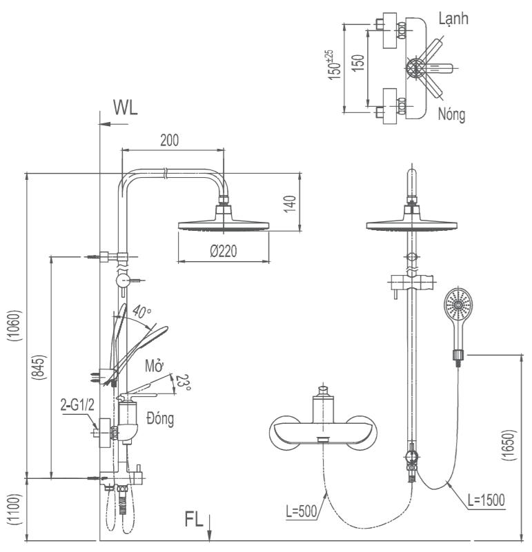 Bản vẽ kỹ thuật vòi cây sen tắm INAX BFV-41S-5C