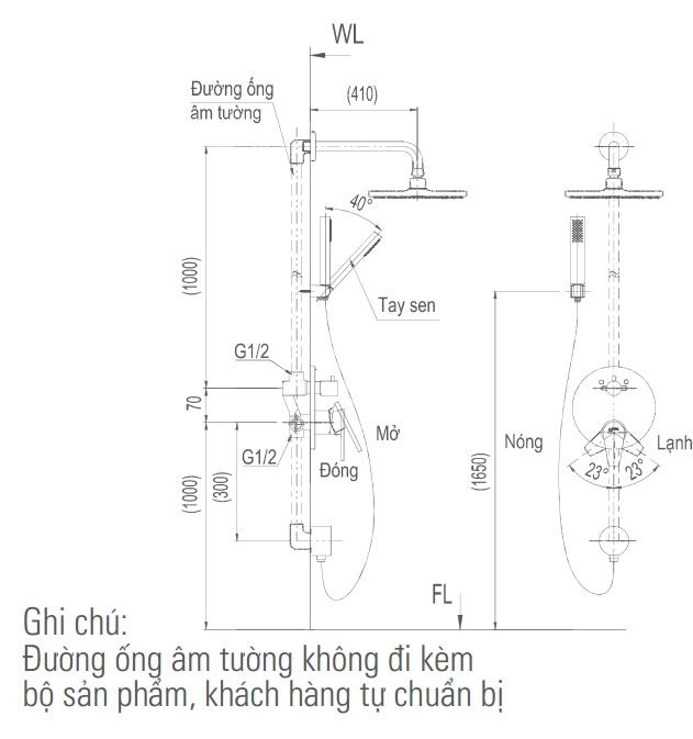 Bản vẽ kỹ thuật vòi sen tắm INAX BFV-71SEW