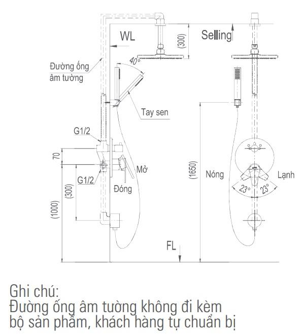 Bản vẽ kỹ thuật vòi sen tắm INAX BFV-71SEC