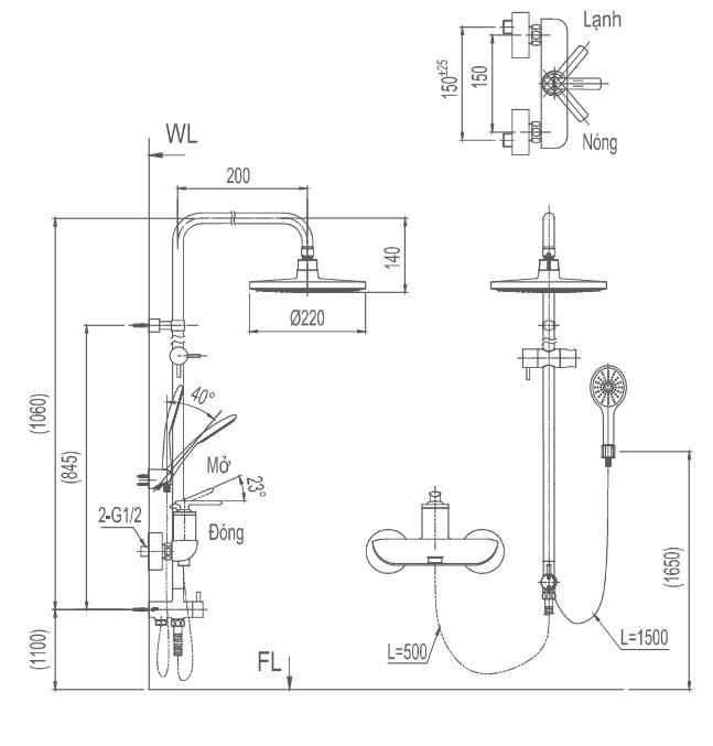 Bản vẽ kỹ thuật vòi cây sen tắm INAX BFV-41S