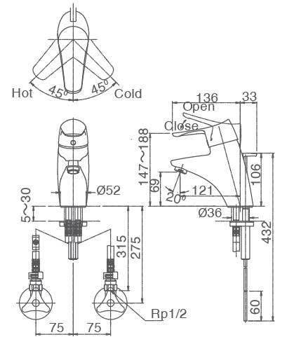 Bản vẽ kỹ thuật vòi lavabo INAX LFV-5102S