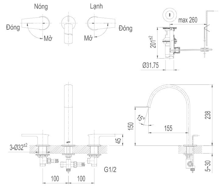Bản vẽ kỹ thuật vòi lavabo nóng lạnh INAX LFV-7100B
