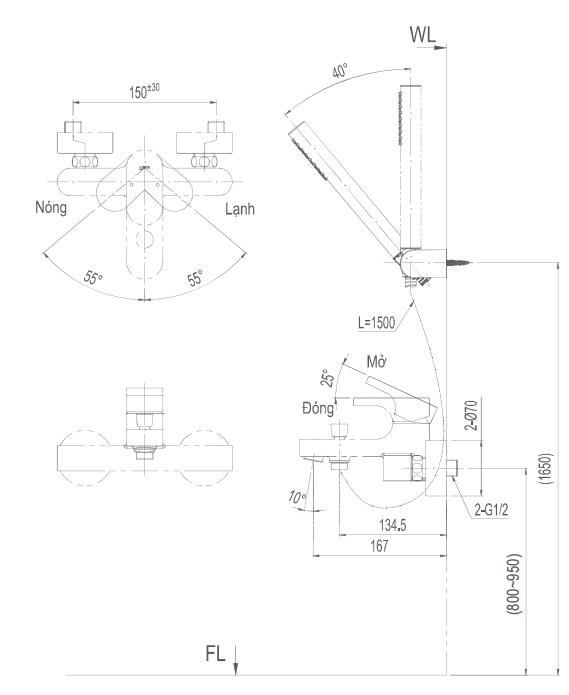 Bản vẽ kỹ thuật vòi sen Inax BFV6003S