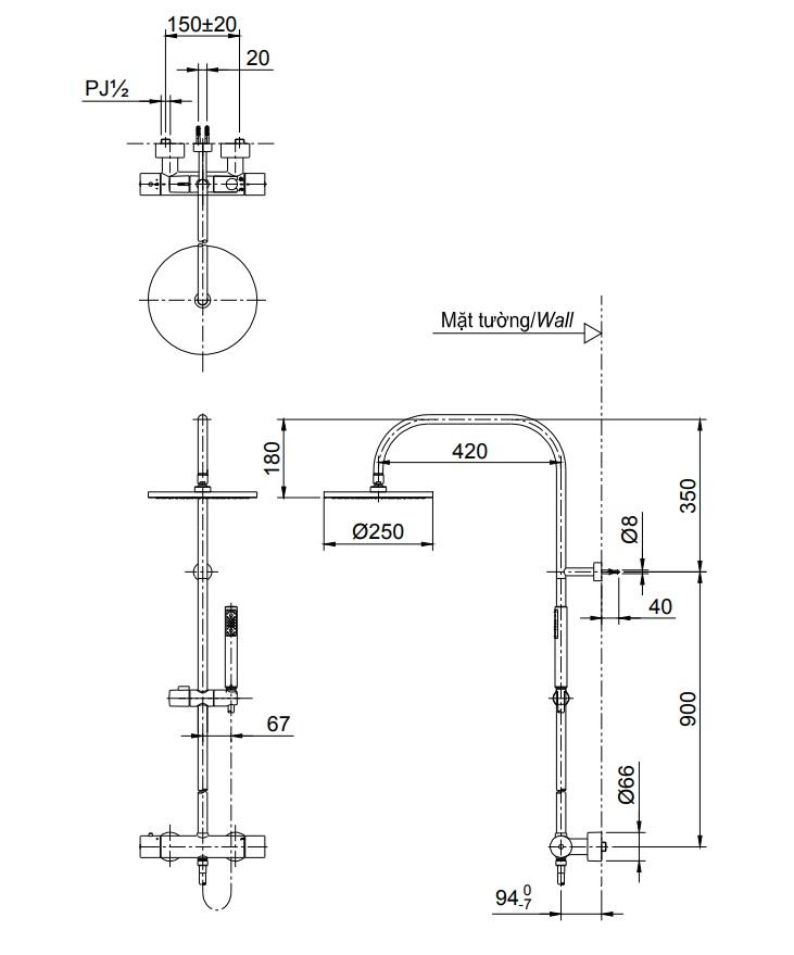 Bản vẽ vòi hoa sen tắm đứng TX454SESV2BRS nhiệt độ TOTO