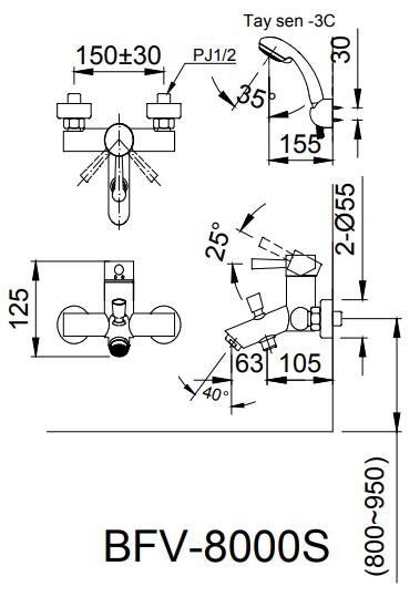 Bản vẽ kỹ thuật Vòi sen nhiệt độ INAX BFV-8000S-5C