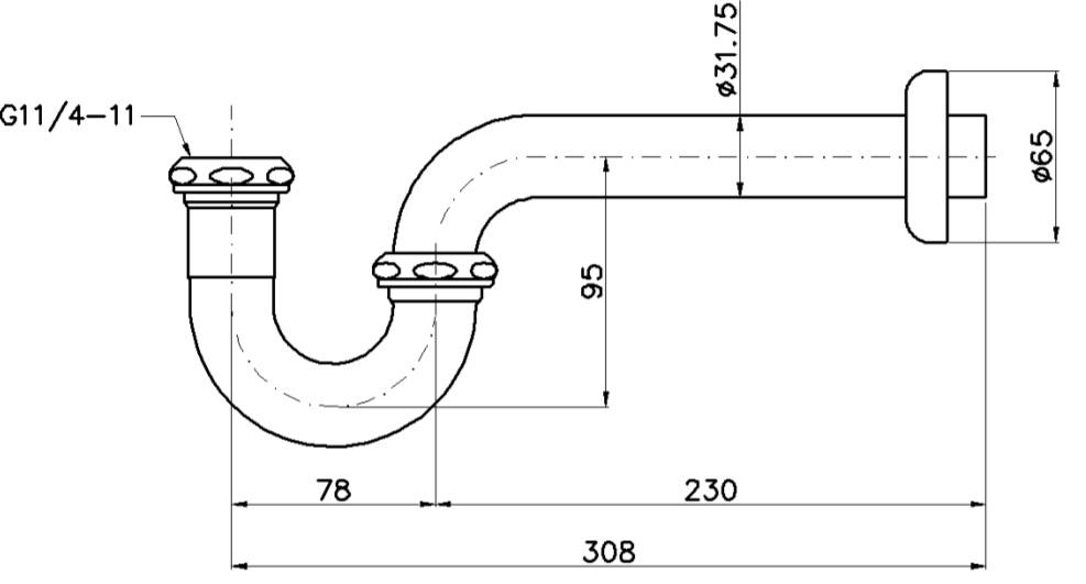 Bản vẽ kỹ thuật ống thải TOTO TVLF401