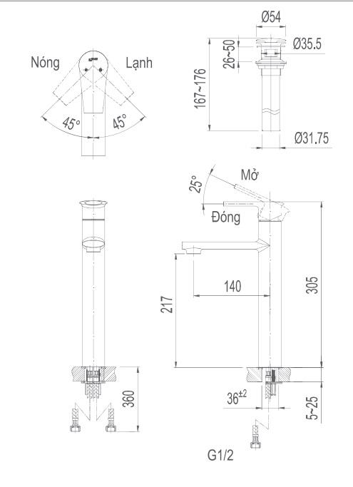 Bản vẽ kỹ thuật vòi lavabo nóng lạnh INAX LFV-7100SH