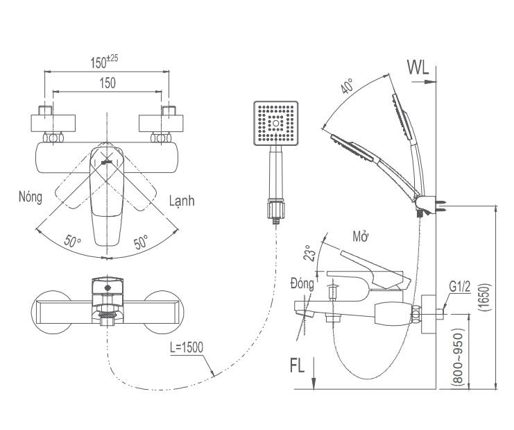 Bản vẽ kỹ thuật Vòi sen tắm nóng lạnh INAX BFV-5003S