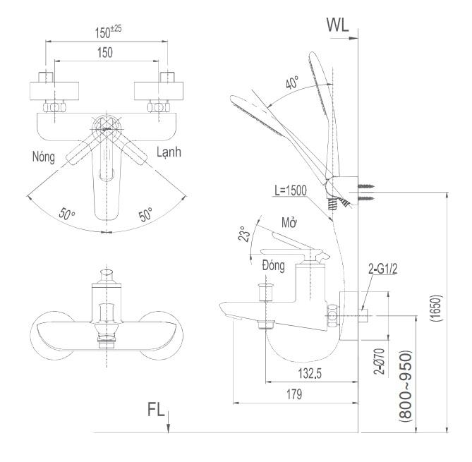 Bản vẽ kỹ thuật Vòi sen tắm nóng lạnh INAX BFV-4103S
