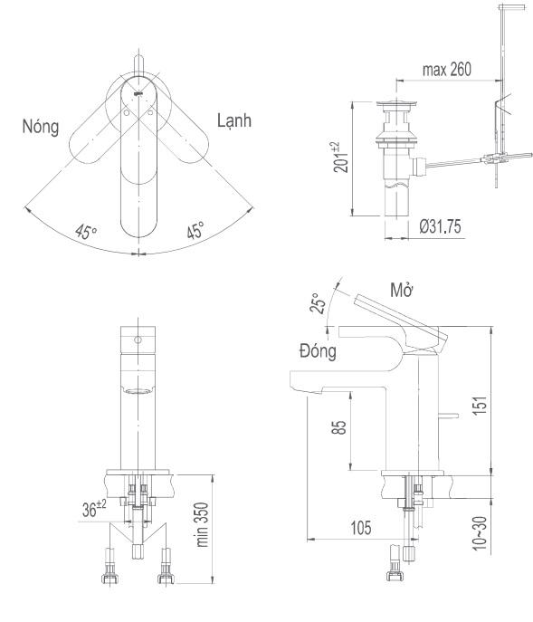 Bản vẽ kỹ thuật vòi lavabo nóng lạnh INAX LFV-6002S