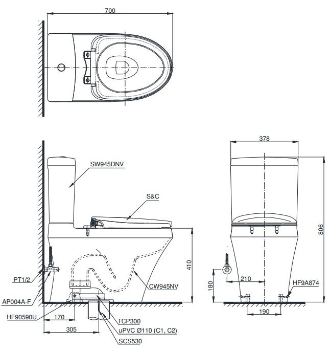 Bản vẽ kỹ thuật bàn cầu xí bệt TOTO MS945T2
