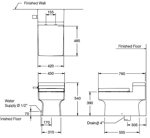Bản vẽ kỹ thuật bồn cầu C10317
