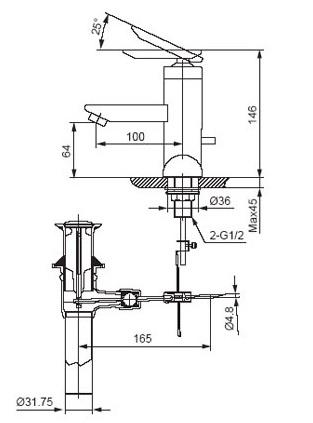 Bản vẽ kỹ thuật vòi lavabo nóng lạnh INAX LFV-4001S