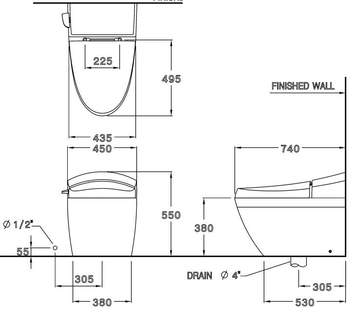 Bản vẽ kỹ thuật bồn cầu C10037