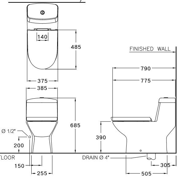 Bản vẽ bồn cầu C1113 COTTO 1 khối