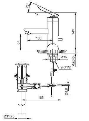Bản vẽ kỹ thuật vòi lavabo nóng lạnh INAX LFV-4000S