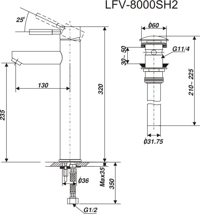 Bản vẽ kỹ thuật vòi lavabo LFV-8000SH2