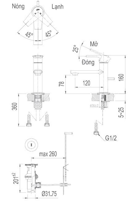 Bản vẽ kỹ thuật vòi lavabo nóng lạnh inax LFV-7102S