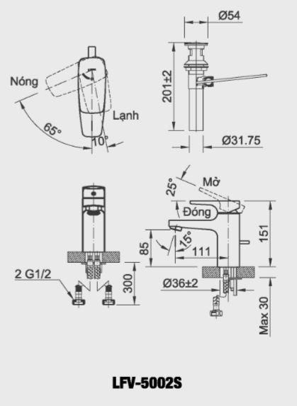 Bản vẽ kỹ thuật vòi lavabo nóng lạnh INAX LFV-5002S