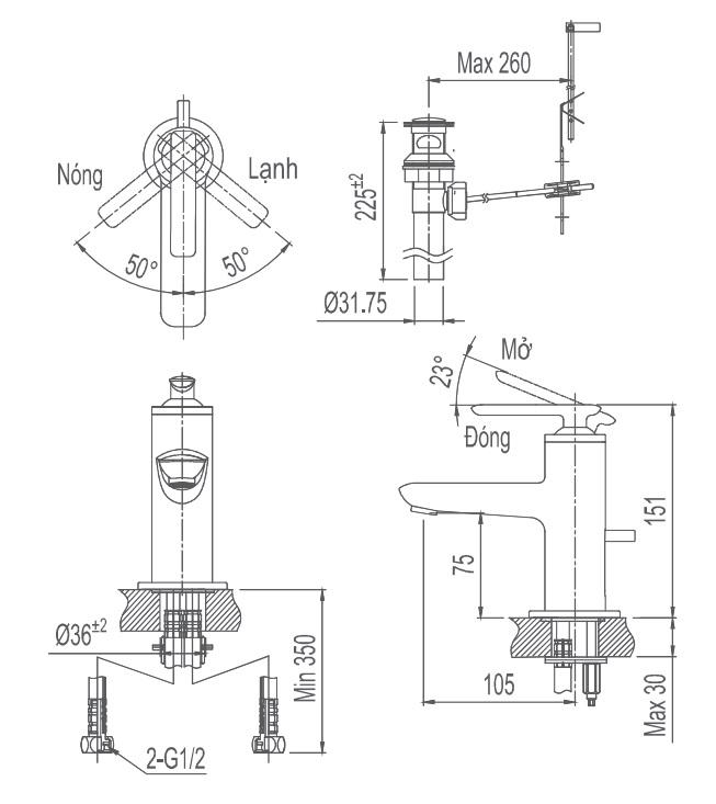 Bản vẽ kỹ thuật Vòi lavabo Inax LFV-4102S