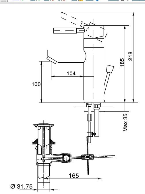 Bản vẽ kỹ thuật vòi lavabo INAX LFV-8000S