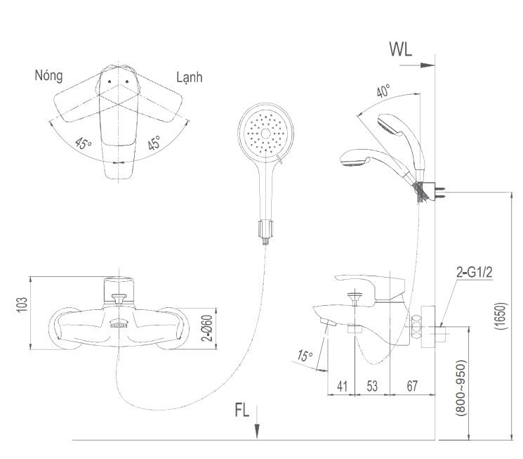 Bản vẽ kỹ thuật Vòi sen tắm nóng lạnh INAX BFV-213S