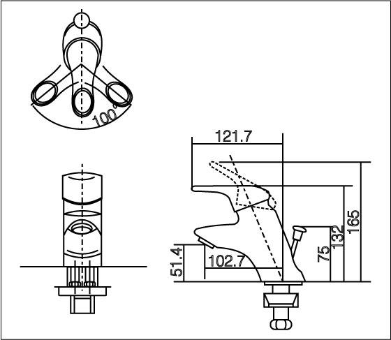 Bản vẽ kỹ thuật vòi nóng lạnh inax LFV-102S