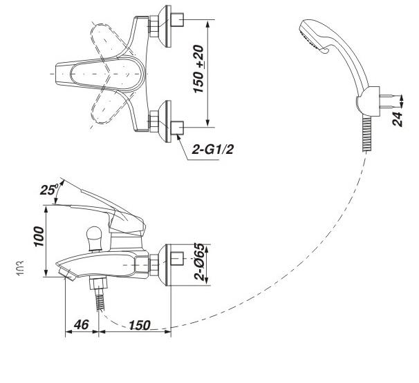 Bản vẽ kỹ thuật Vòi sen tắm nóng lạnh INAX BFV-283S