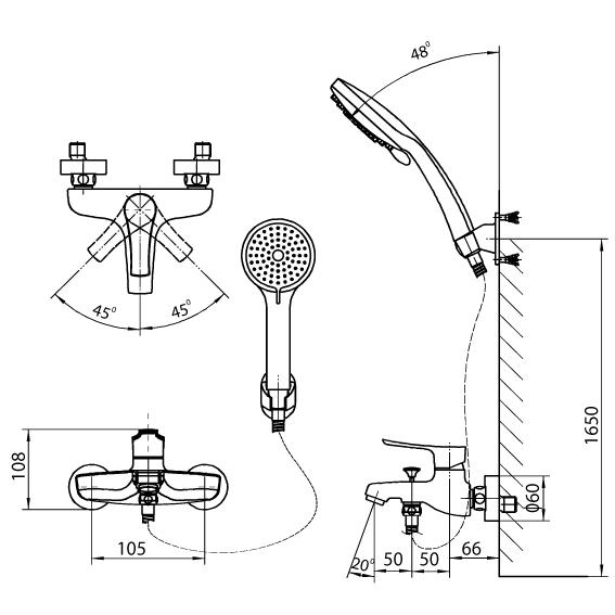 Bản vẽ kỹ thuật Vòi sen tắm nóng lạnh INAX BFV-313S
