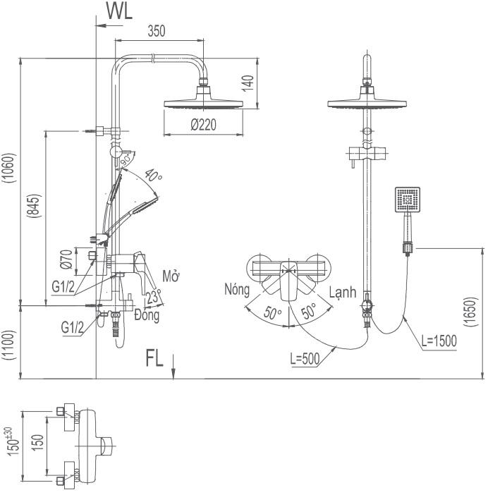 Bản vẽ kỹ thuật vòi cây sen tắm INAX BFV-50S-5C