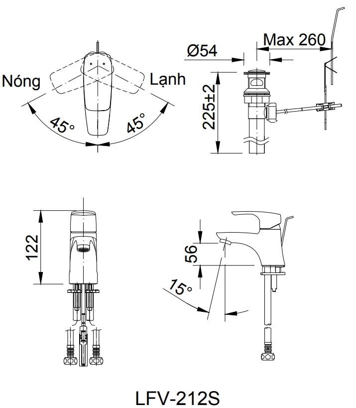 Bản vẽ kỹ thuật vòi Inax nóng lạnh LFV-212S