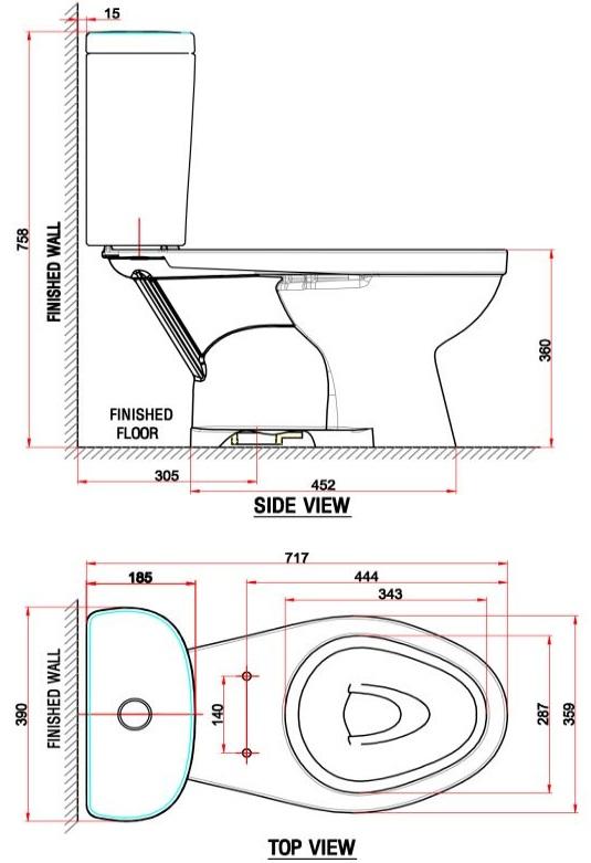 Bản vẽ bồn cầu VF-2397 American dòng Winplus+