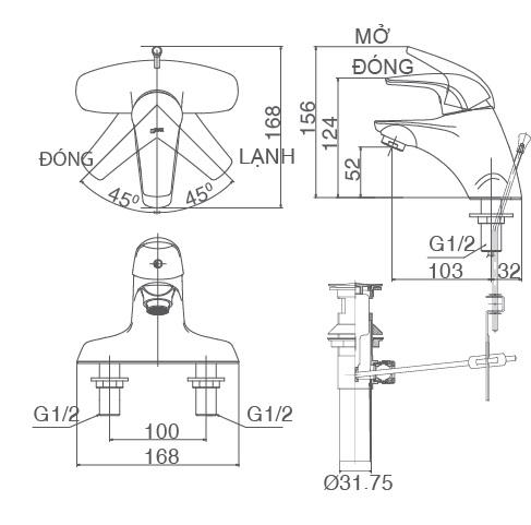 Bản vẽ kỹ thuật vòi Inax nóng lạnh LFV-3001S