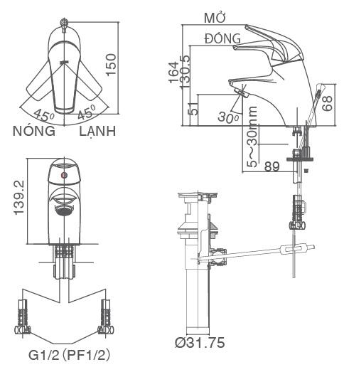 Bản vẽ kỹ thuật vòi Inax nóng lạnh LFV-3002S