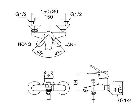 Bản vẽ kỹ thuật Vòi sen tắm nóng lạnh INAX BFV-1003S-2C