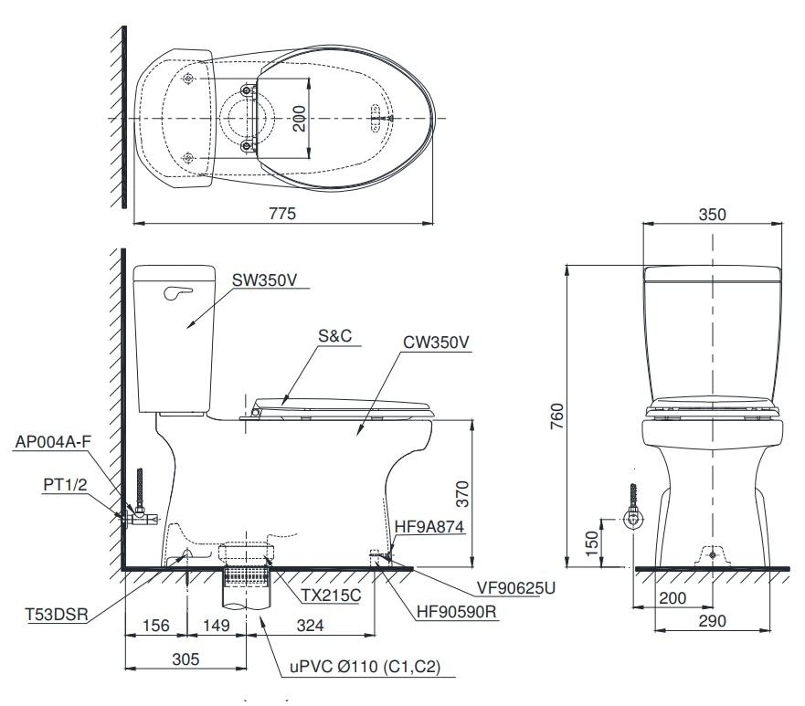 bản vẽ bồn cầu nắp điện tử TOTO CS350DW4