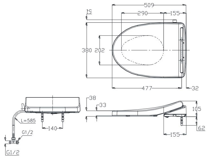 Bản vẽ nắp rửa cơ TOTO TCW 1211A