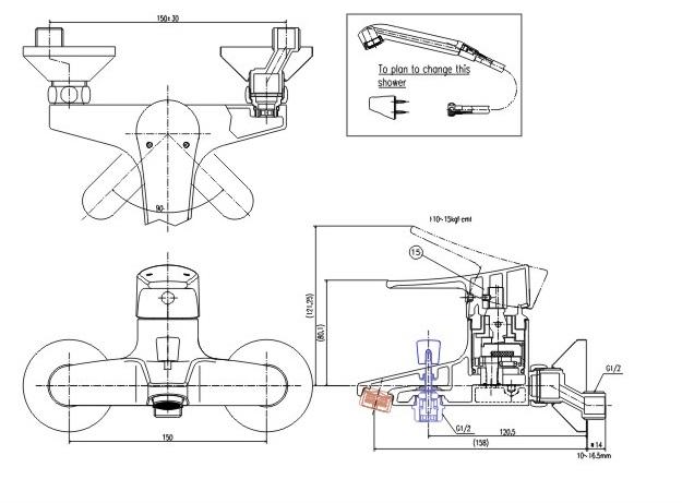 Bản vẽ kỹ thuật vòi sen tắm lạnh INAX BFV-1003S