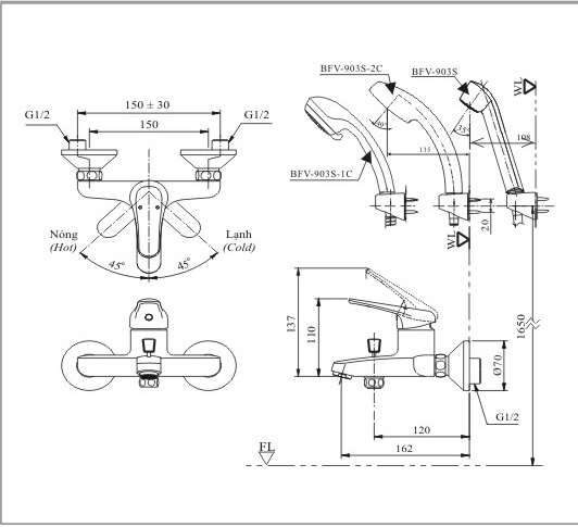 Bản vẽ kỹ thuật vòi sen tắm INAX BFV-903S-2C