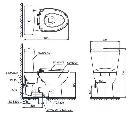 Bản vẽ kỹ thuật xí bệt TOTO CS300DRT2
