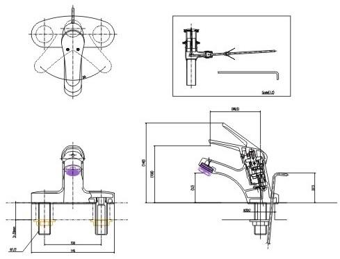 Bản vẽ kỹ thuật vòi Inax nóng lạnh LFV-901S