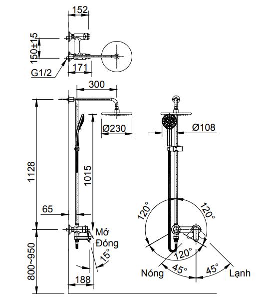Bản vẽ kỹ thuật sen cây tắm nóng lạnh INAX BFV-915S