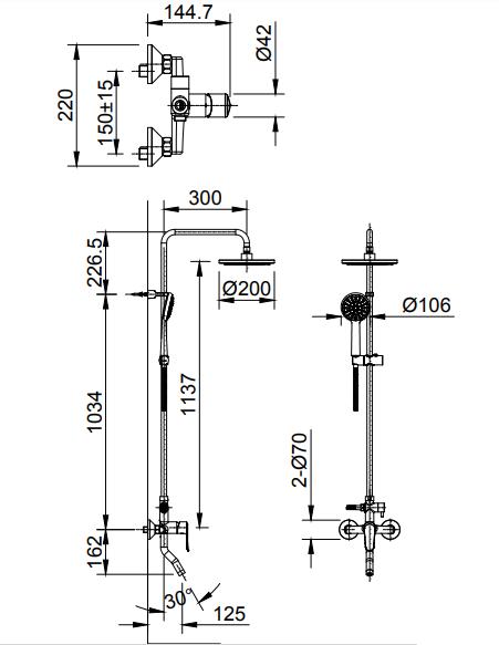Bản vẽ kỹ thuật vòi cây sen tắm INAX BFV-2015S