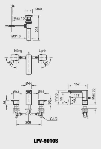Bản vẽ kỹ thuật vòi lavabo nóng lạnh LFV-5010S