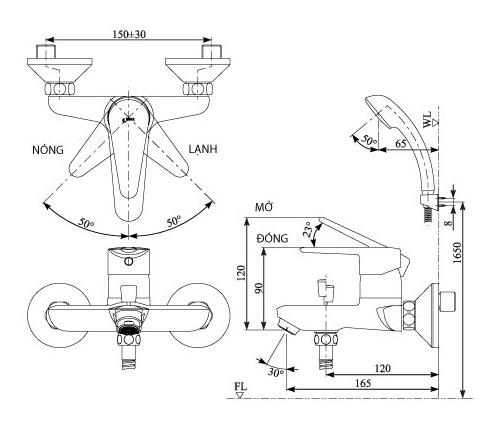 Bản vẽ kỹ thuật Vòi sen tắm nóng lạnh INAX BFV-1103S