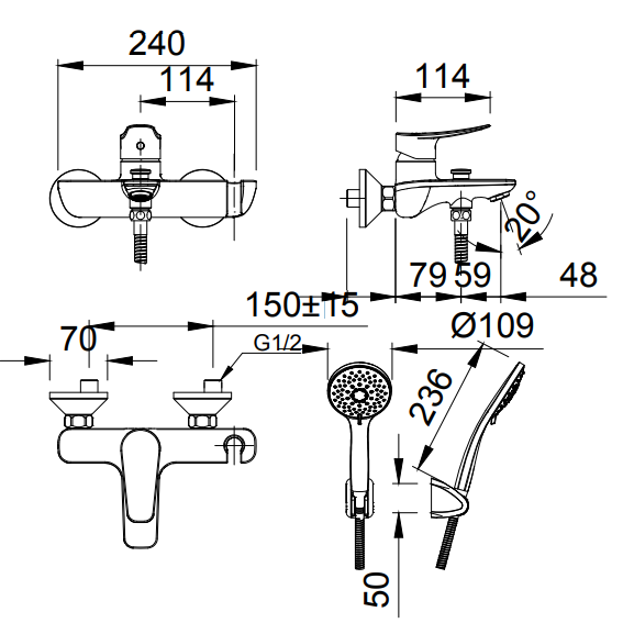 Bản vẽ kỹ thuật Vòi sen tắm nóng lạnh INAX BFV-503S