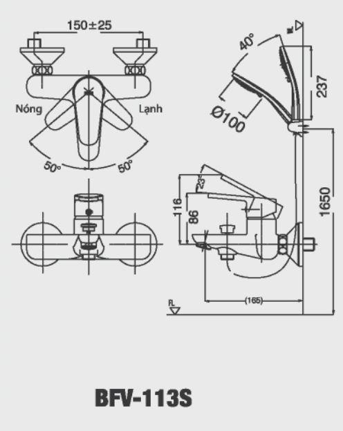 Bản vẽ kỹ thuật Vòi sen tắm nóng lạnh INAX BFV-113S